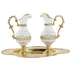 Early 20th Century Set of French Gilded Metal and Glass Holy Communion Cruets