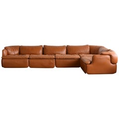 Alberto Rosselli, Saporiti Sectional Corner Sofa, Original Tan Leather, 1970s