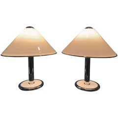 Pair of Super Chic Italian Chrome and White Enamel Table Lamps