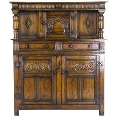 Oak Court Cupboard Carved Oak Sideboard, Scotland, 1910