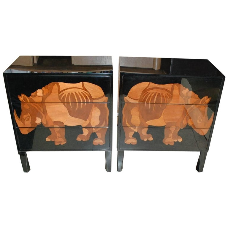 Pair of Lacquered and Wood Inlay Rhino Design Chest of Drawers