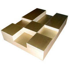 "Goatskin and Brass ""Cube"" Design Coffee Table"