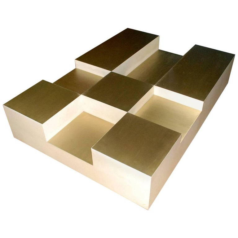 """Goatskin and Brass """"Cube"""" Design Coffee Table"""