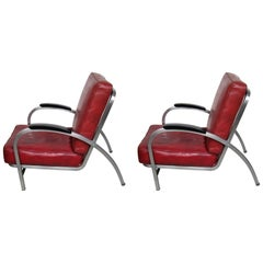 Two Art Deco Royal Metal Red Tubular Steel Club Chair Matter of Gilbert Rohde