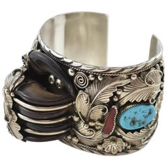 Large Sterling Silver, Turquoise and Bear Claw Navajo Cuff Bracelet