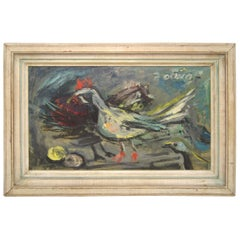 """Midcentury Impressionism Woodstock NY Artist """"Chicken and Eggs"""" Oil on Canvas"""