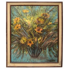 Midcentury Abstract Floral Oil on Canvas Painting, 1967