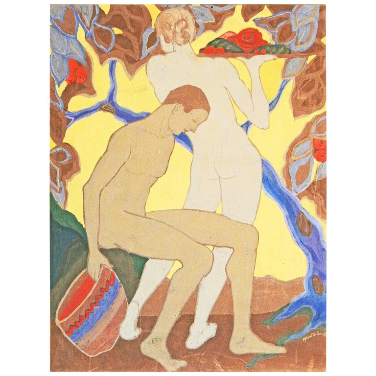 """""""Gathering Fruit"""", Vividly-Hued Art Deco Painting with Nudes by Schulte"""