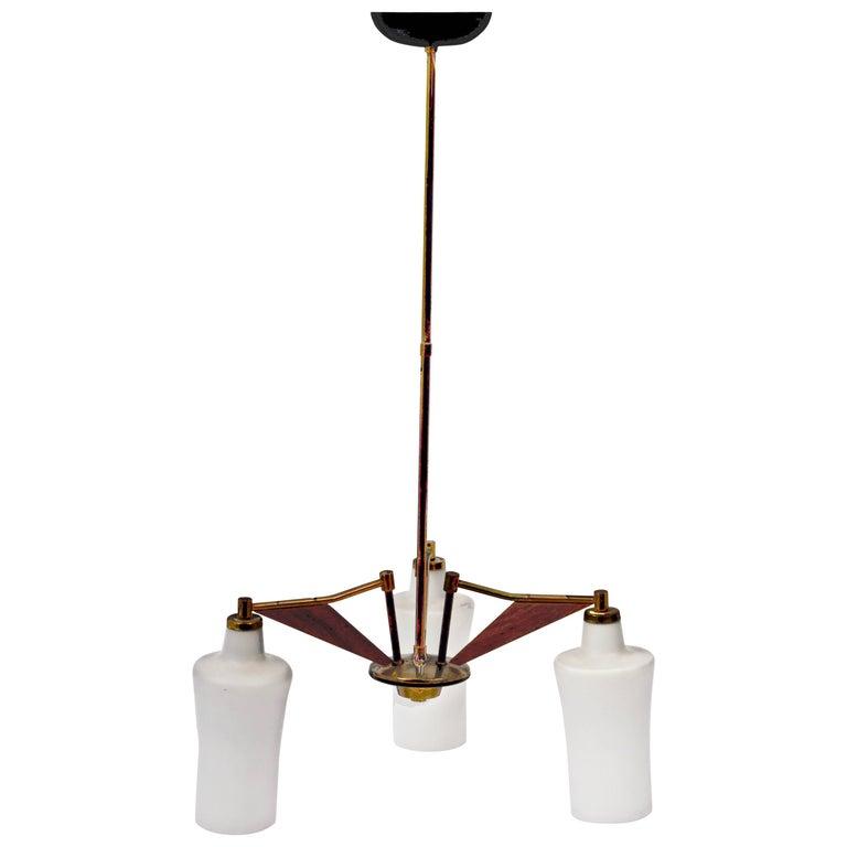 Stilnovo Italian Chandelier, Opaline Glass, Brass and Teak, Lighting, 1960s