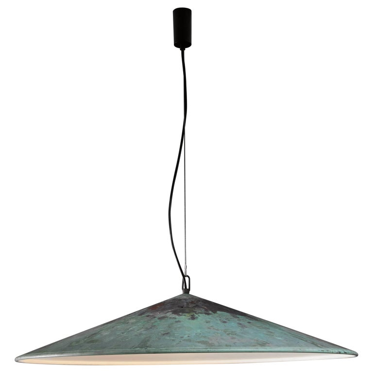 Extra Large Henning Larsen 1 of 2 Copper Pendants, Denmark, 1960s For Sale