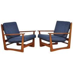 Midcentury Danish Teak Wood Armchairs, 1960s