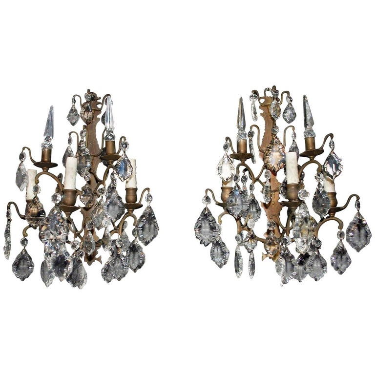 Beautiful and Elegant Large Pair of French 1930s Bronze and Crystal Sconces