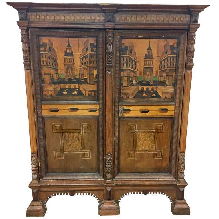 Antique Austrian Architectural, 18th Century Marquetry Armoire Cabinet