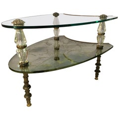 Hollywood Regency Two-Tiered Italian Églomisé Side Table