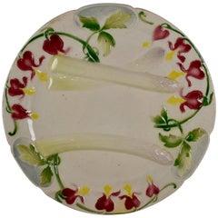 Keller & Guerin Saint Clément Faïence Bleeding Heart Asparagus Plate