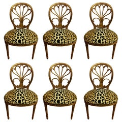 Set of Six Plume Back Carved Gold Giltwood Leopard Dining Chairs