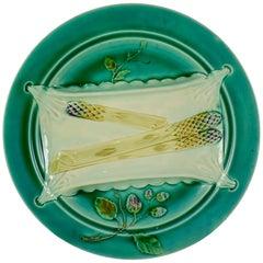 Luneville, French Majolica Trompe L'oeil Napkin Asparagus Plate