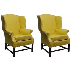 Pair of Georgian Style Yellow Vinyl Wingback Chairs with Piping Detail, 1960s