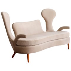 Renzo Zavanella, Important Sofa from Hotel San Remo, Light Fabric, Walnut, 1950