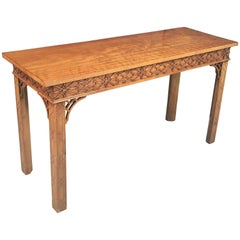 English Walnut Console Table or Server in the Chinese Chippendale Style