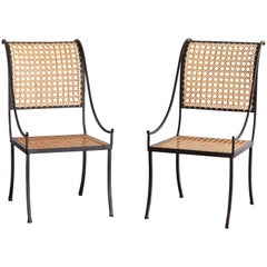 John Vesey, Pair of Wrought Iron and Cane Side Chairs, circa 1958