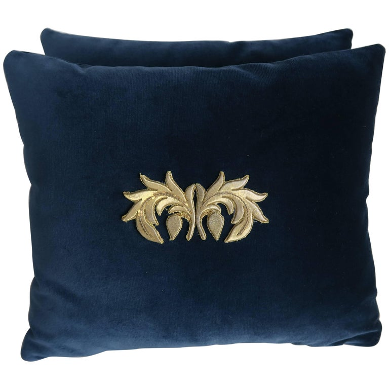 Pair of Metallic Gold Appliqued Pillows by Melissa Levinson