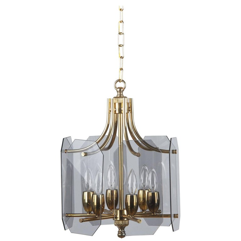 Midcentury French Brass Chandelier with Smoked Glass Panels, 1960s