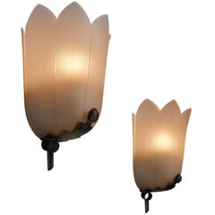Pair of Art Deco Glass Wall Lamps, Sweden, 1930s