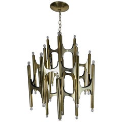 Huge 1960s Gaetano Sciolari Chandelier for Lightolier, 36 Bulbs