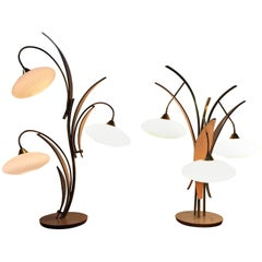 "Pair of Classic Mid-Century Modern ""Flower"" Wood and Glass Lamps"