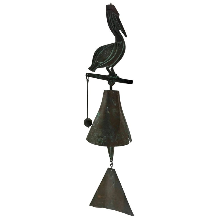 Paolo Soleri Wildlife Pelican Cast Bronze Bell / Wind Chime Arcosanti For Sale