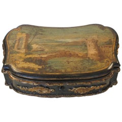 Hand-Painted and Decoupage Shaped Box, 18th Century