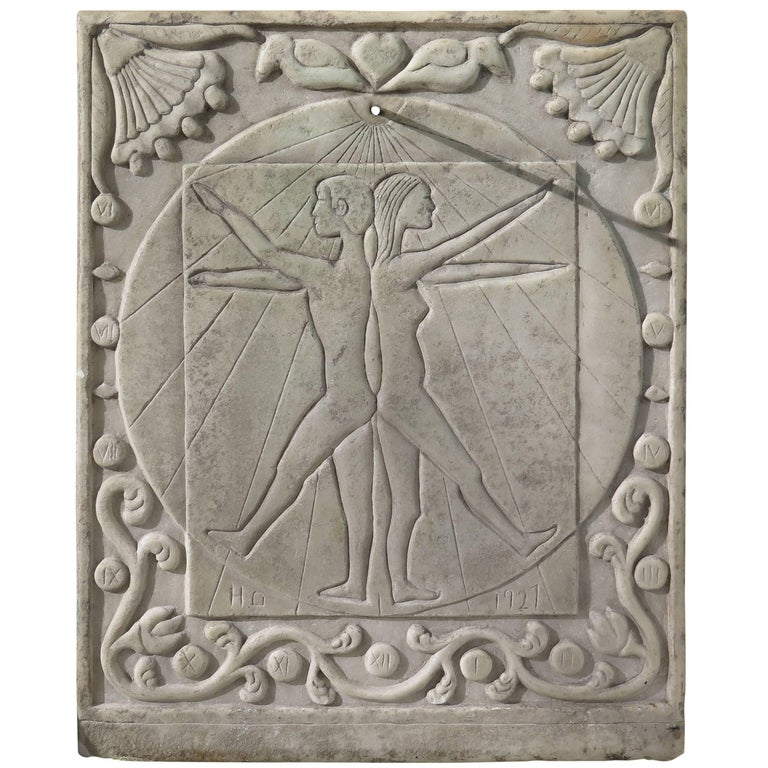 Marble Sundial with Incised Figures by HD