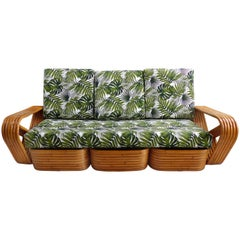 1940s Iconic Paul Frankl Six Band Rattan Pretzel Sofa