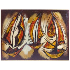 Over scale Mid-Century Modern Abstract Oil Painting of Sailboats