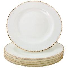 Mid-20th Century White Milk Glass and 22-Karat Gold Rim Dinner Plate S/6