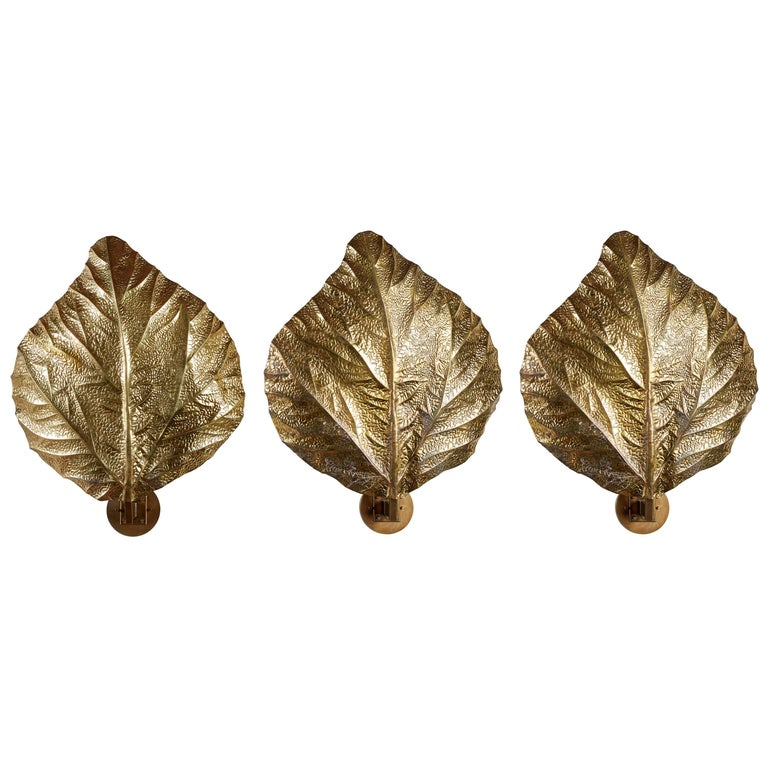 "Three Sculptural ""Leaf"" Wall Lights by Tommaso Barbi For Sale"