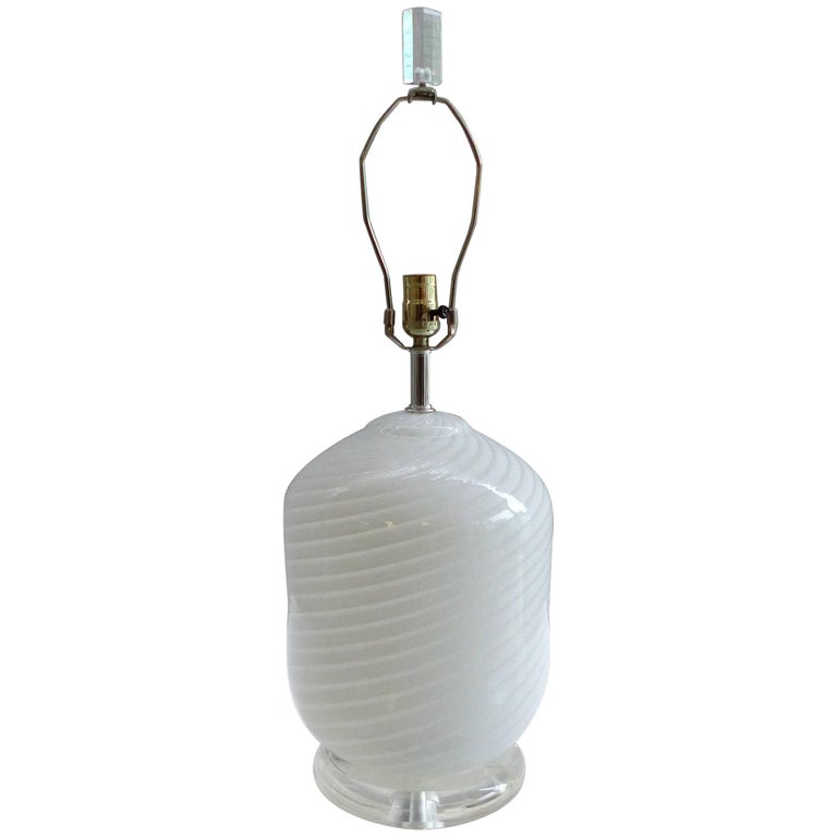 Vetri Murano Table Lamp Upon a Lucite Base