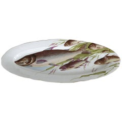 Antique Bawo Dotter Karlsbad Bbd Carlsbad Austria Hand-Painted Fish Platter