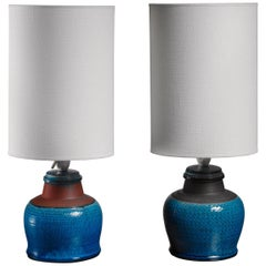 Pair of Kahler Ceramic Table Lamps, Denmark, 1960s