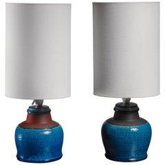 Ein Paar Kahler Keramik Tischlampen, Dänemark, 1960er