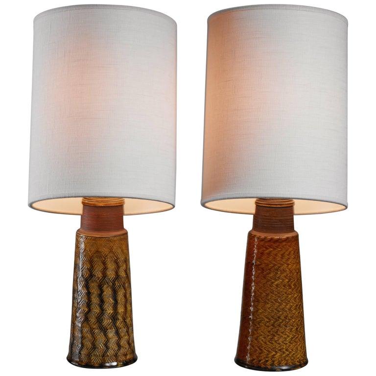 Pair of Kähler Ceramic Table Lamps, Denmark, 1960s