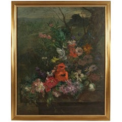 Ludovic Piette Oil on Canvas, Mid-19th Century Bouquet of Flowers, circa 1862