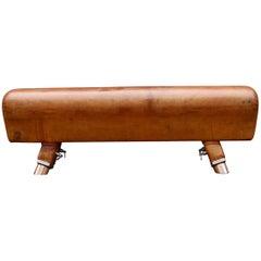 Vintage Gymnastic Pommel Horse Leather Bench, 1930s