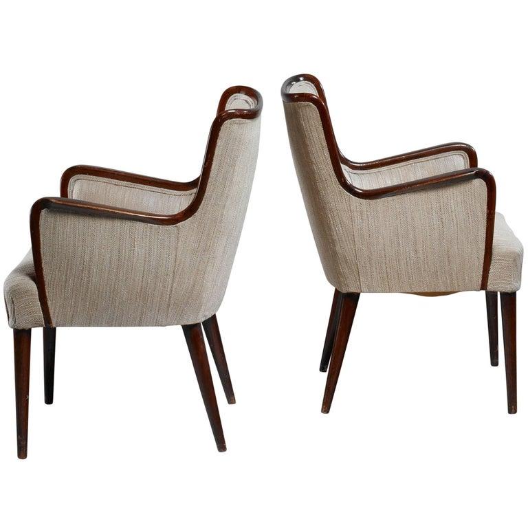 Osvaldo Borsani Pair of Rare Side Chairs, Italy, 1940s