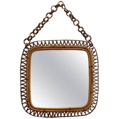 Italian Rattan and Bamboo Vintage Mirror