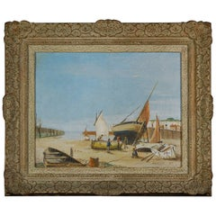 English 20th Century Cornish Harbour Oil on Canvas Painting