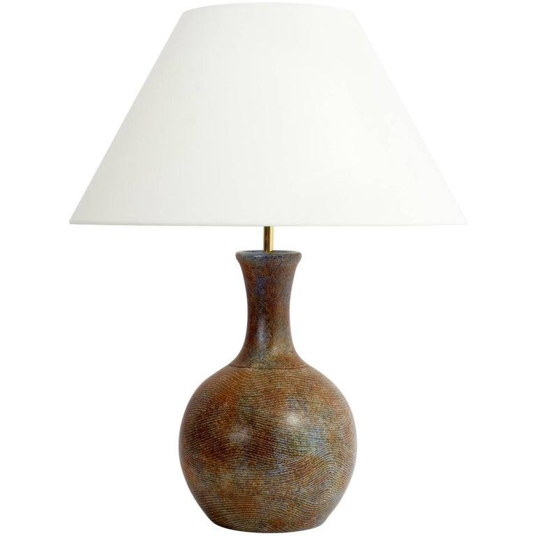 Large Ceramic Table Lamp Base Signed by La Grange Aux Potiers