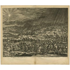 Antique Bible Print Joshua Makes the Sun and Moon Stand Still by J. Luyken