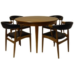 Dining-Set Design Johannes Andersen, Chairs, Table, Denmark, Teakwood, Leather